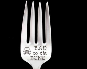 Stamped Fork Bad to the Bone Engraved Flatware Vintage  Silverware Funny Gifts Under 15 Hand Stamped Fork Skull and Crossbones Name on Tine