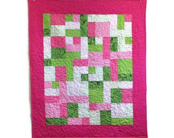Baby Girl Quilt Kit in Pink and Green using Atkinson Designs Yellow Brick Road Beginner Quilt Pattern and Cotton Batik Fabrics