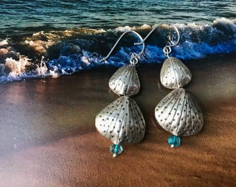 Dangling Shell Earrings with Apatite - Beachy!