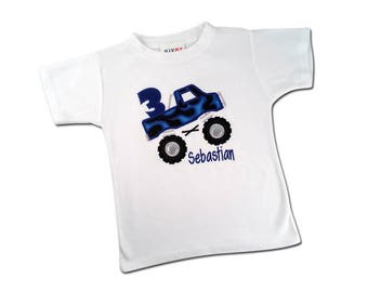 Monster Truck Birthday Shirt with Rubber Wheels and Embroidered Name