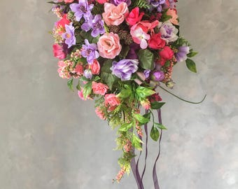 SILK FLOWERS WEDDING bouquets mix purple