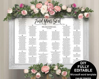 Alphabetical Seating Chart, Wedding Seating Chart Template, Printable. DIY,  Seating Plan,