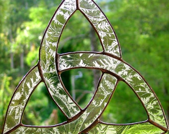 Trinity Celtic Knot in Stained Glass, Pale Amber Textured Glass, Suncatcher, handmade in Australia