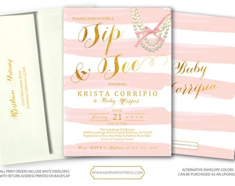 Blush Pink Gold Sip & See Invitation / Pink Stripes / Sip and See / Watercolor / Foil  / It's a Girl / Baby Girl // SANTA BARBARA COLLECTION