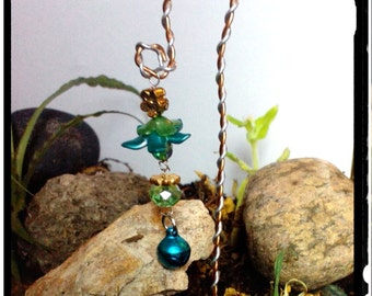 Fairy Garden Wind Chime Bell Miniature Garden Decoration with Flowers and Crystals on Aluminum Yard Stake Handmade