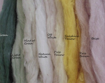 Organic Carded Fleece, natural -white and plant-dyed, for felting, spinning and needle felting