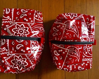 """Cosmetic / toiletry bag for travel, plastic on outside measures 5"""" x 9"""" x 3.5"""" no lining"""