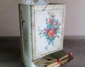 Rustic Floral Tin Match Safe, Match Stick Holder, Toleware Match Box