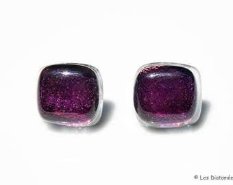Earrings - purple-green dichroic glass