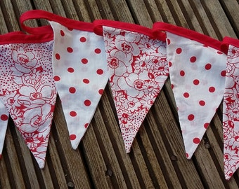 Red floral fabric bunting, wedding garland, wedding decor, garden party bunting, birthday party bunting
