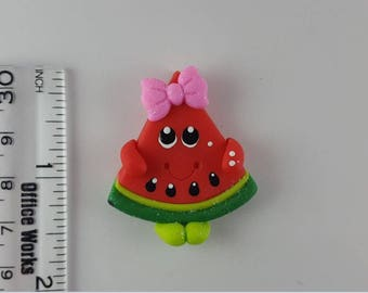 Smiley Watermelon.  Clay Charm Bead, Scrapbooking, Bow Center, Pendant.