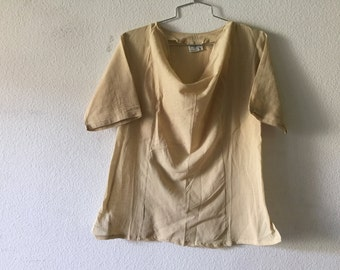 Vintage Blouse -  Cowl Top Cotton Gauze Drape Collar Short Sleeve India Hippie Gypsy Boho
