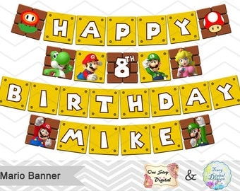 Printable Super Mario Banner, Printable Super Mario Inspired Party Banner, Super Mario Party Banner, Instant Download Mario Run Banner 0062