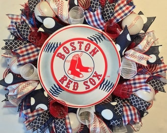 Boston Red Sox wreath, Red Sox wreath, Boston Red Sox decor, Red Sox decor, Red Sox baseball wreath, baseball wreath, Boston Red Sox