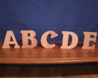 """3"""" wooden letters, wooden letters 3/4"""" thick, style 2 wood nursery letters, free standing letters"""