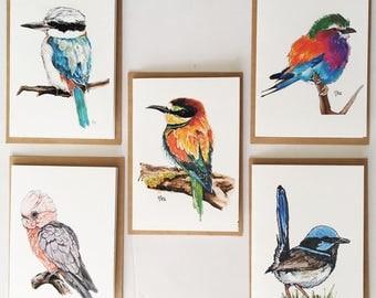 Bird blank greeting cards handmade greeting cards bird print nature art stationery set note card