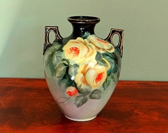 Hand Painted Porcelain Vase Yellow Roses Artist Signed Robea