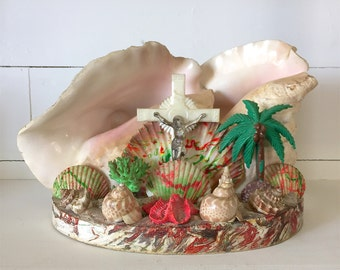 Vintage SeaShell Grotto Folk Art Religious Jesus Crucifix Colorful Shells Plaster base Could be made into a Lamp Conch Reef Coral