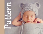 Baby Bear Bonnet Knitting PATTERN - Newborn knitting pattern -Photo prop knitting pattern, bear bonnet, bulky knit pattern drops melody