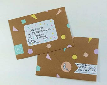 Pastel Geometric Shapes Postal Sticker Set for pretty post, pimped mail