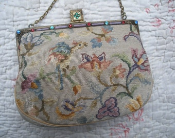 Vintage petit point purse bag, jewelled frame