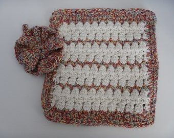 Wash Cloths - Set of 2 - Cottage/Cream Colors - 100% Cotton - Hand Crocheted - Dishcloth - Kitchen - Cleaning - New - Homemade - Bathroom
