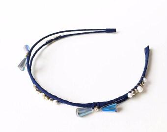 Nora Headband - Navy headband - Beaded headband - Goddess headband - Double Strand Headband - Adult headband - Blue Headband