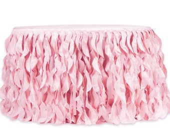 Pink Curly Willow Table Skirts, Ruffled Table Skirt, Cake Table, Head Table, Romantic Table Skirt, Dessert Table
