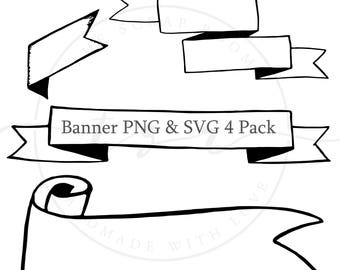 Digital Graphics -4 Banner Pack -  PNG and SVG files, 300 dpi vector graphics, instant download Bullet Journal Digital Stickers