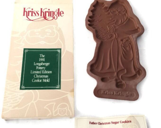 Longaberger Clay Cookie Mold - Vintage Kris Kringle Cookie Mold,