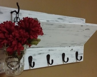 Rustic Home  Decor , distressed White Mail Holder, Wood Mail Organizer, Key Holder, House warming, Hostess gift, Mothers Day gift