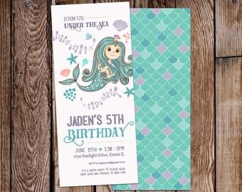 Mermaid Birthday Invitation, Mermaid Invitation, Birthday Party, Under the Sea, Purple and Teal, Mermaid