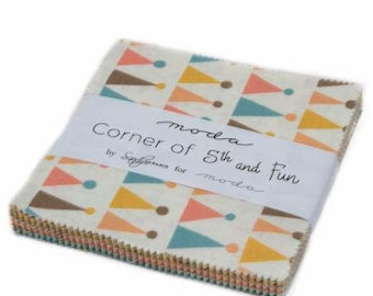 "Corner of 5th and Fun Charm Pack by Sandy Gervais for Moda Fabrics (5"" x 5"" squares)"
