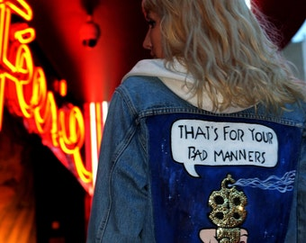 Handmade denim jacket BAD MANNERS painted and embroidered jacket - Joyfripe Paris