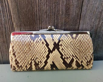 Vintage Python Coin Snakeskin Purse Snake Mini Wallet Clutch Bag 70s VIntage 1970s 1960s 60s