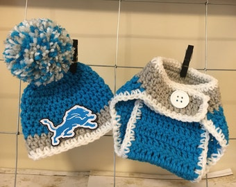 Detroit Lions hat baby Detroit Lions Hat boys Detroit Lions hat Lions baby hat and diaper cover photo prop  perfect gift for baby shower