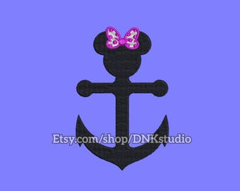 Minnie Mouse Anchor Embroidery Design - 6 Sizes - INSTANT DOWNLOAD