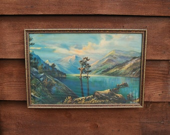 Framed Landscape Print, Vintage Cottage Art, Framed Chromolithograph Lake Landscape Print, Mountain Lake Print