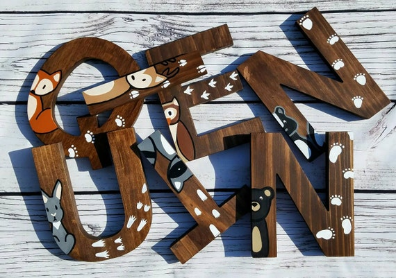 Wooden Letters For Nursery Woodland Nursery Decor By