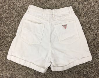 Vintage Women's GUESS Georges Marciano High Waisted White Denim Jean Shorts Sz 28