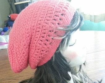Pink Textured Slouchy Beanie