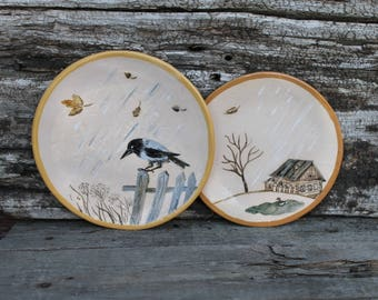 Ceramic plates set hand built, pottery plates, crow, rawen hand painted, dinner plates set, serving dishes
