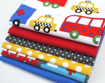 COTTON FABRIC BUNDLE Retro Traffic Jam - 6 x Fat Quarters of 100% premium cotton