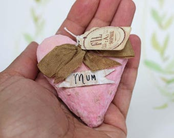 Mother s Day special Nostalgic Spun cotton heart ornament