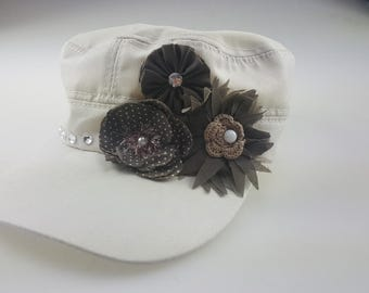 Women's Cadet Hat with bows and rhinestones