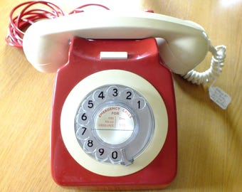 Original Vintage GPO Dial Telephone 746 Series 1960's 1970's Red & Cream/White