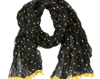 Black & Yellow Pom Pom Scarf - Originally 15.00