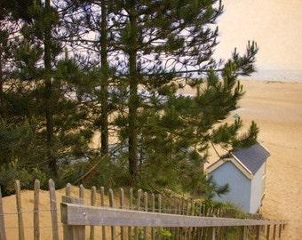 Blue Beach hut seaside photo print