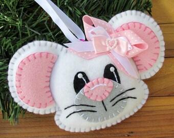 Wool Felt Mouse Ornament Hanger In White