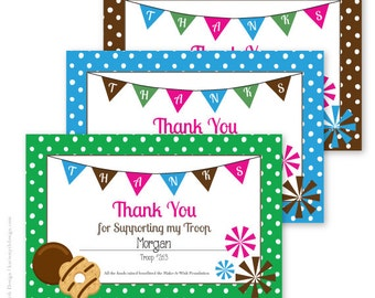 Girl Scout Cookie Fundraiser Thank You Notes. Personalized & Printable. Available in 3 colors